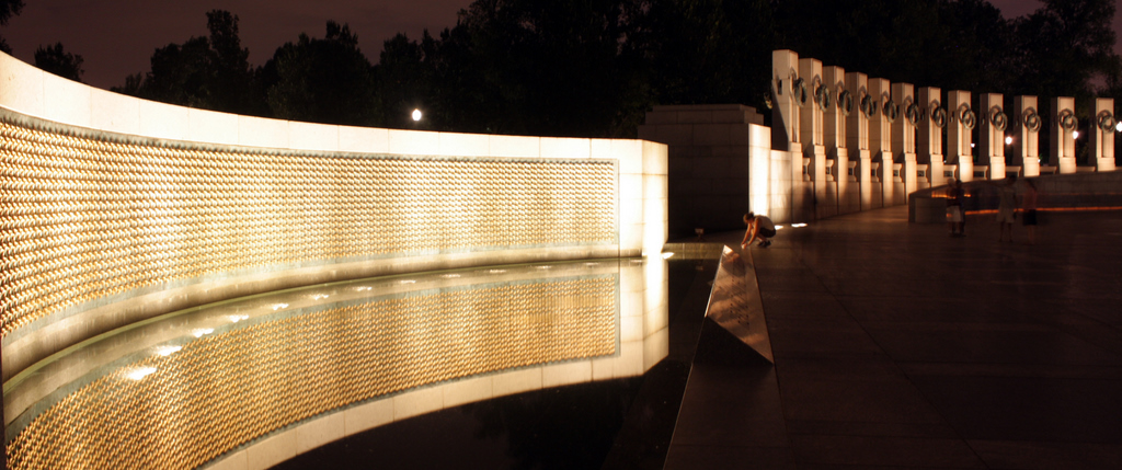 The wall of stars in the WWII memorial.